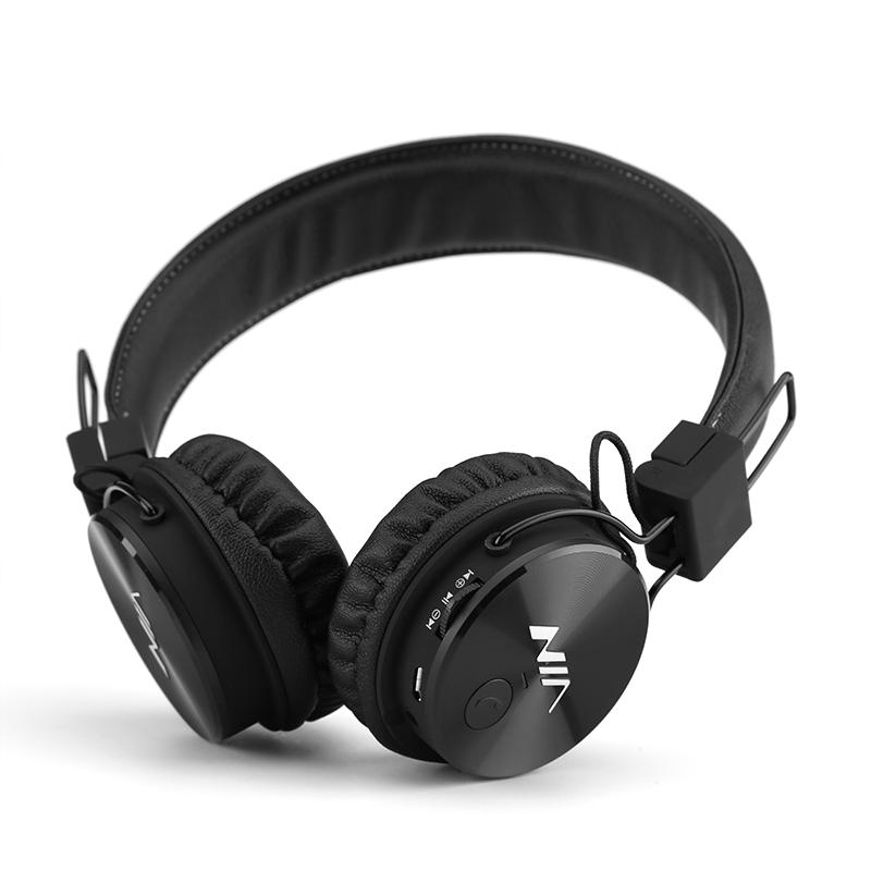 NIA Sluchátka NIA X3 Bluetooth - 40 mm HD ovladače, FM rádio, slot SD karty, bezdrátová sluchátka, černá