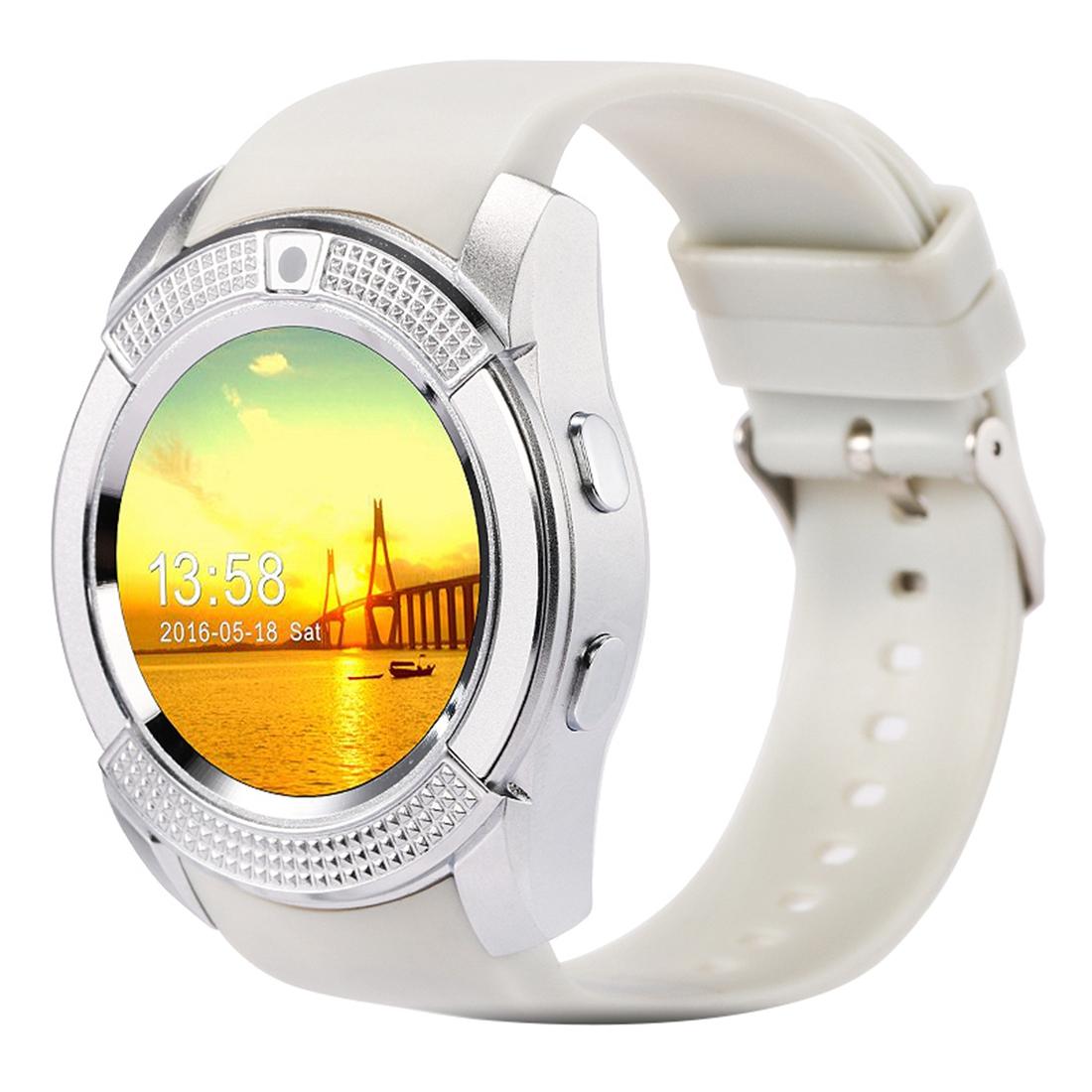 X-Watch Xwatch V8 1,22 palcový dotykový displej, 2G volání, Bluetooth Smart hodinky s 0.3MP fotoaparátem, pedometer, hudební přehrávač, sledování spánku, vzdálené snímání, TF karta, bílá