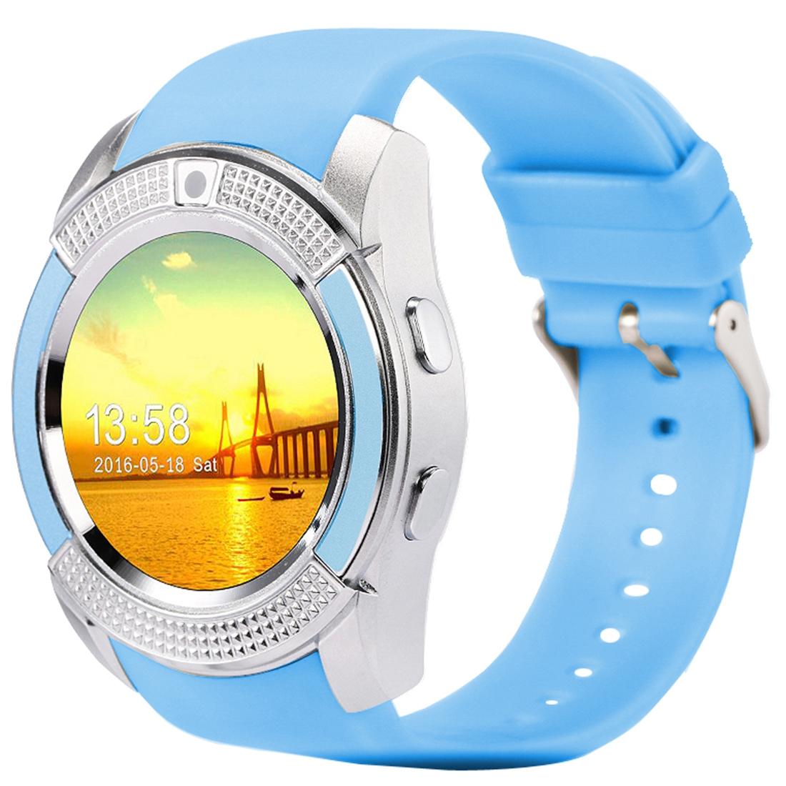 X-Watch Xwatch V8 1,22 palcový dotykový displej, 2G volání, Bluetooth Smart hodinky s 0.3MP fotoaparátem, pedometer, hudební přehrávač, sledování spánku, vzdálené snímání, TF karta, modrá