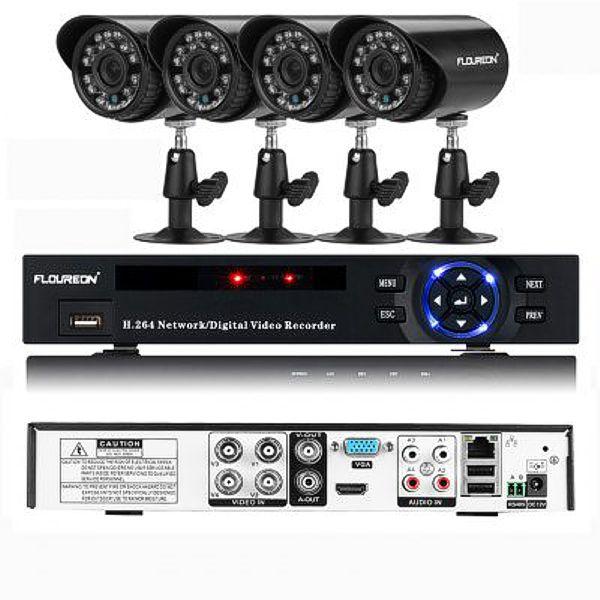 Floureon FLOUREON P4-E4004H DVR a IR-CUT kamerový systém, 4xkamera s IP66, černá