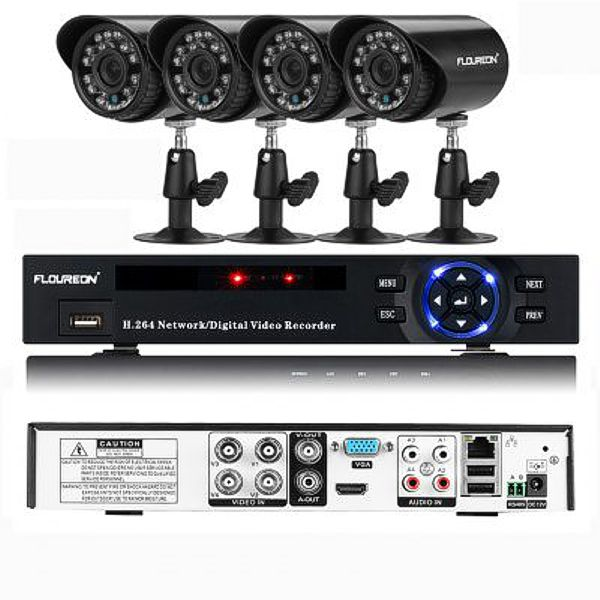 FLOUREON P4-E4004H DVR a IR-CUT kamerový systém, 4xkamera s IP66, černá