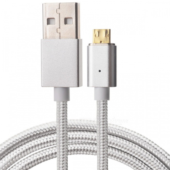 Cwxuan Cwxuan Micro USB odnímatelný magnetický datový kabel pro nabíjení (1m),pletený nylon, stříbrná