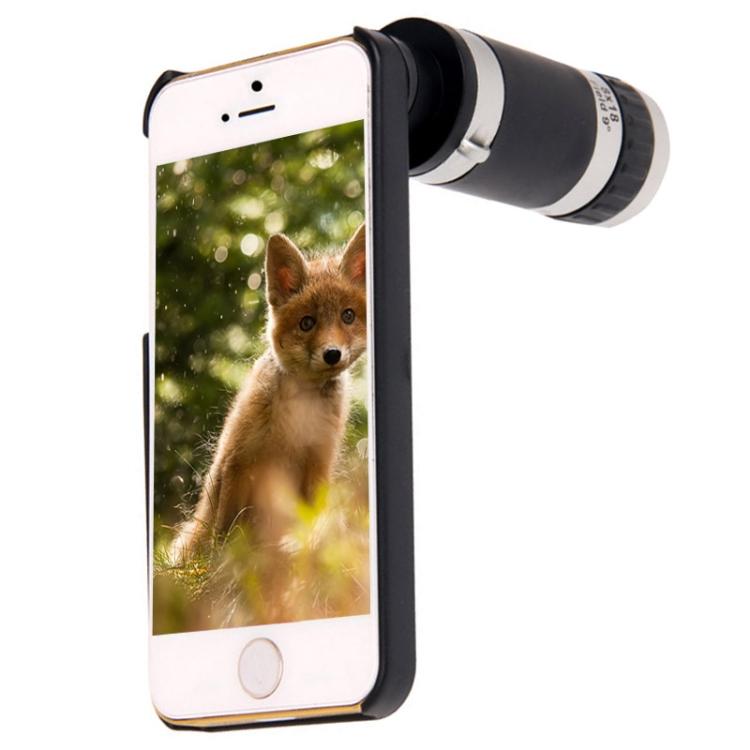 SPTDS SPTDS 8x Zoom Objektiv pro smart telefon iPhone 5, 5S+plastový zadní kryt,černá