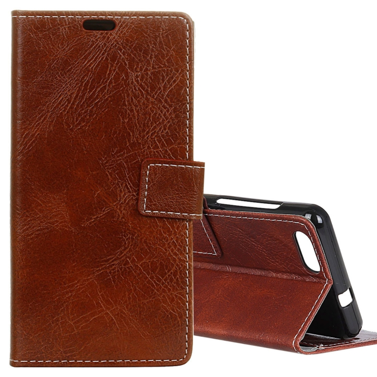 IDEWEI IDEWEI Horizontální flipové kožené pouzdro pro DOOGEE X20 / X20L sloty na karty, držák, peněženka a fotorámeček, hnědá