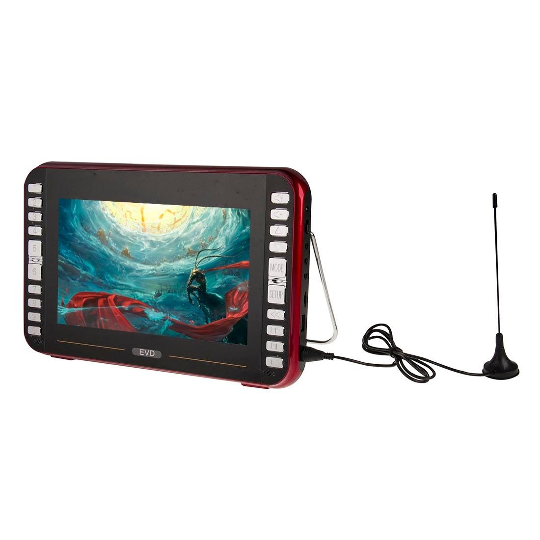 RMVB EVD9, TV s DVB-T, 9,8 palcový TFT LCD displej Digitální multimediální přenosný televizor a DVD přehrávač s držákem, podpora USB, TF karta, funkce AV, ČERVENÁ