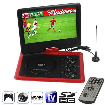 """RMWB NS-958, přenosný 9,5"""" přehrávač DVD, TV, hry, červená"""