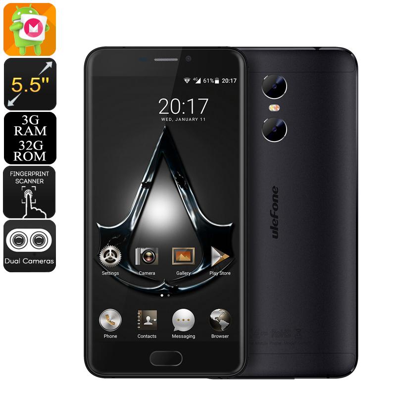 Ulefone Gemini, 13MP, 1080p displej, Android 6.0, čtyřjádrový procesor, 3GB RAM, černá