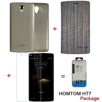 HOMTOM Originál HomTom set pro HT7/HT7 Pro, ochranné sklo, gel. zadní kryt a flip. pouzdro, multicolor