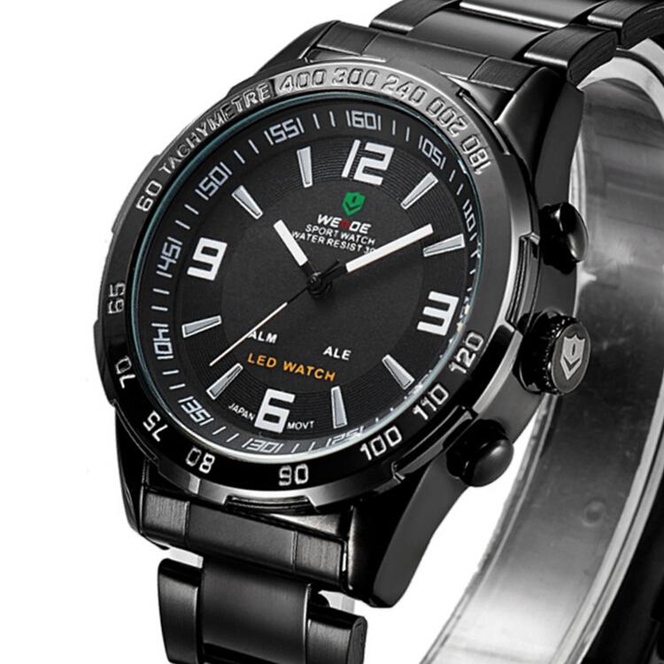 Weide WH1009 Japan Quartz Dual-movt LED Sports, ocelové hodinky, černá