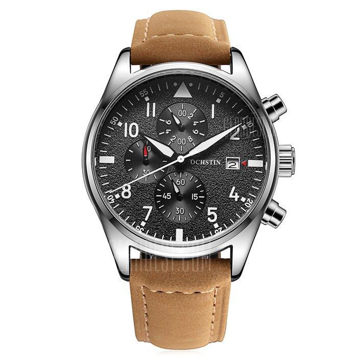 OCHSTIN Outdoor křem. hodinky, Sub-dial vodotěsné 30M, 3 roky záruka, černá