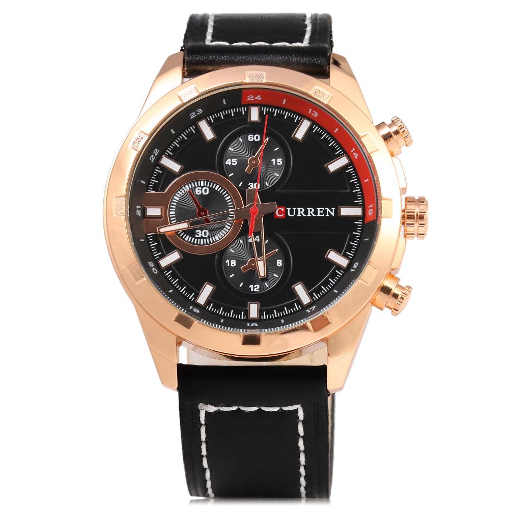 Curren - 8216, Quartz hodinky ocelové s koženým řemínkem, černá - zlatá