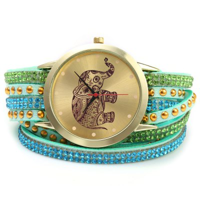 GENEVA A2563 dámské Bracelet Quartz hodinky, zelená