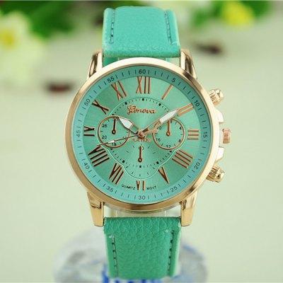 Ocelové Quartz hodinky Geneva zelené