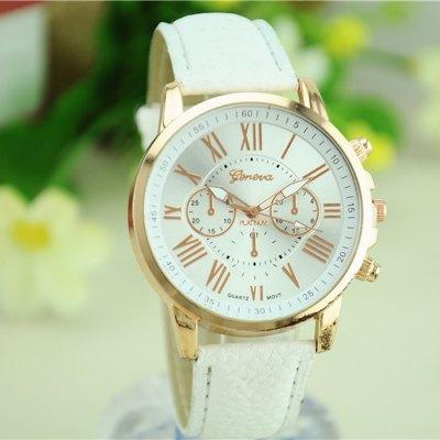 Ocelové Quartz hodinky Geneva bílé