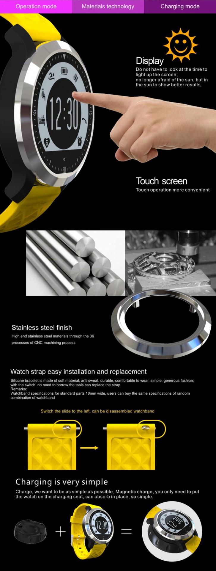 9563c5608f6 Black Watch s jedním poutkem šedé nebo žluté barvy. 1 palec displej.  Nejvhodnější velikost displeje ve vysokém rozlišení zobrazení obrazovky vám  poskytne ...
