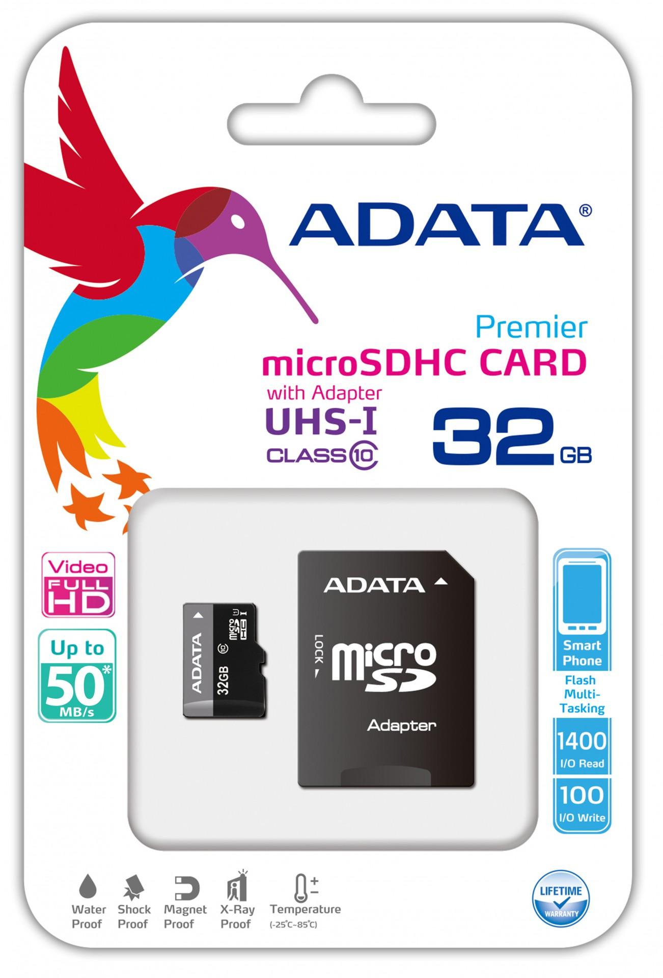 ADATA ADATA Micro SDHC karta 32GB UHS-I Class 10 + SD adaptér, Premier