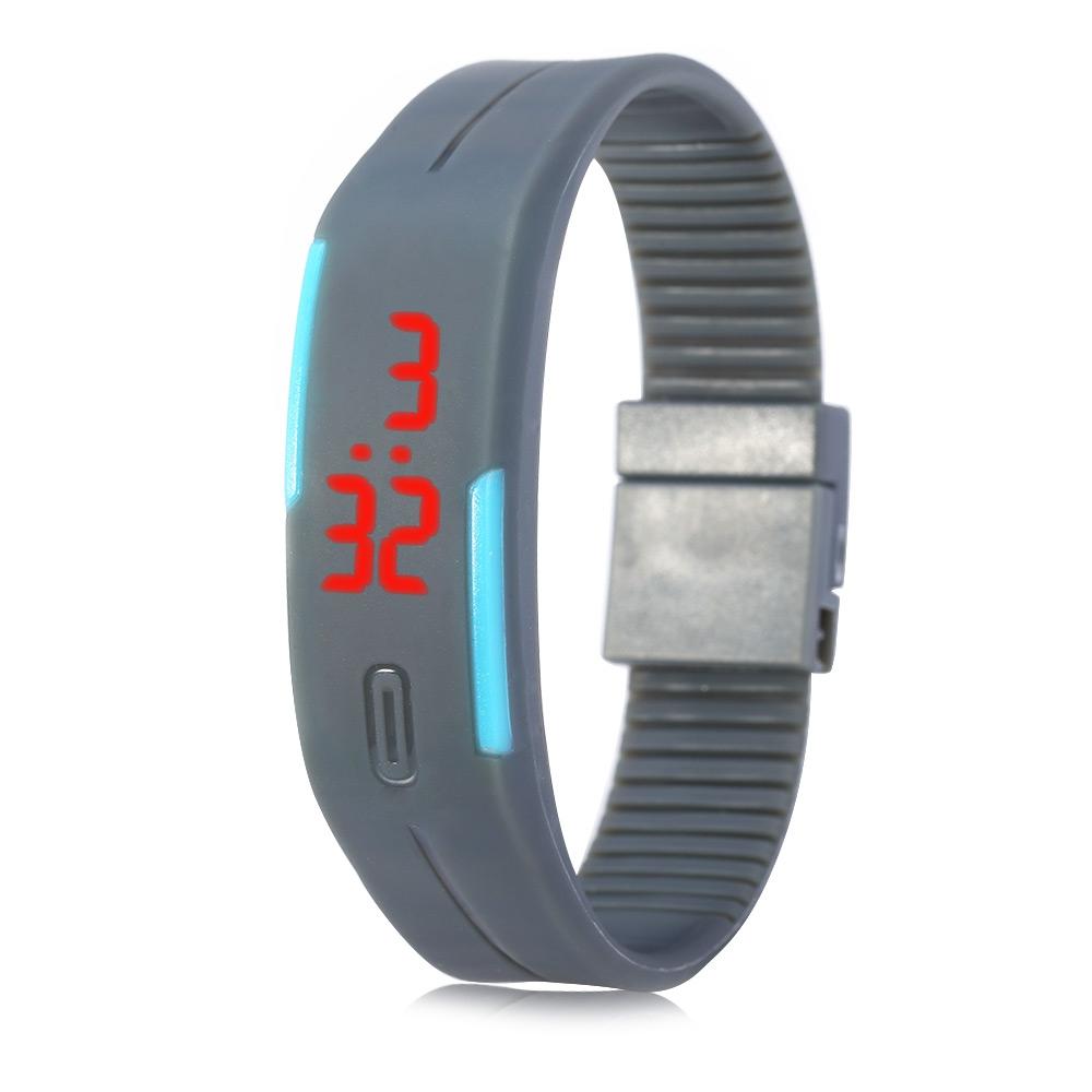 Digitální LED Fitness hodinky šedé